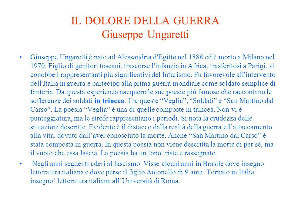IL DOLORE DELLA GUERRA Giuseppe Ungaretti