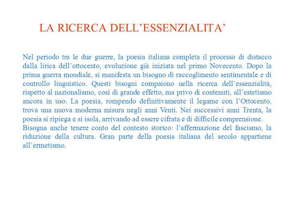 LA RICERCA DELL'ESSENZIALITA'