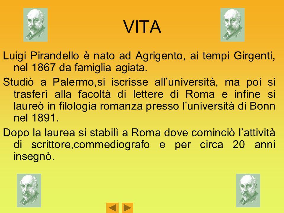 VITA Luigi Pirandello è nato ad Agrigento, ai tempi Girgenti, nel 1867 da famiglia agiata.