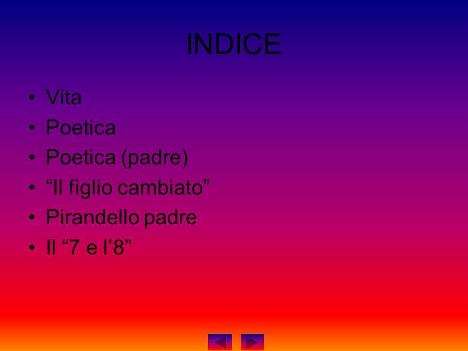 INDICE Vita Poetica Poetica (padre) Il figlio cambiato