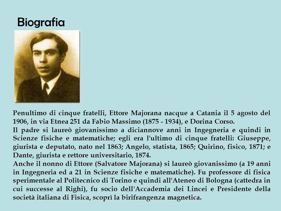 Penultimo di cinque fratelli, Ettore Majorana nacque a Catania il 5 agosto del 1906, in via Etnea 251 da Fabio Massimo (1875 - 1934), e Dorina Corso.