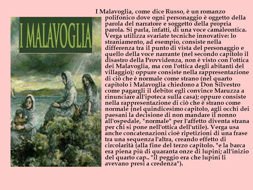 I Malavoglia, come dice Russo, è un romanzo polifonico dove ogni personaggio è oggetto della parola del narratore e soggetto della propria parola.