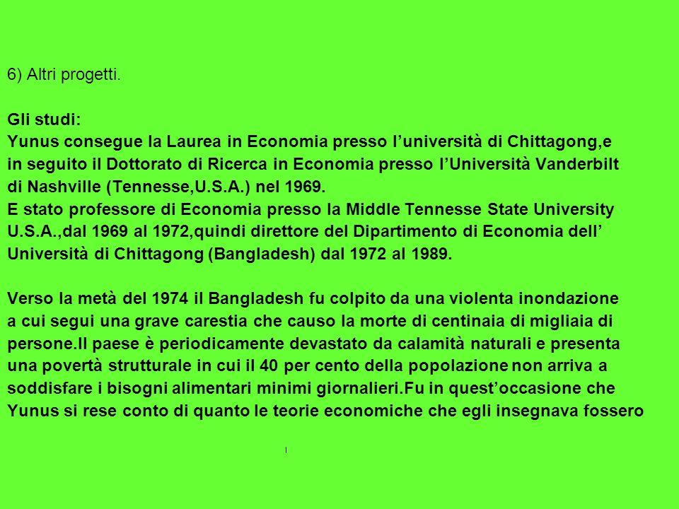 6) Altri progetti.Gli studi: Yunus consegue la Laurea in Economia presso l'università di Chittagong,e.