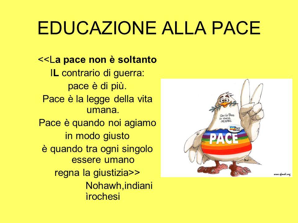 EDUCAZIONE ALLA PACE <<La pace non è soltanto