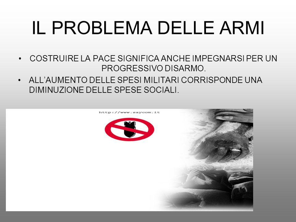 IL PROBLEMA DELLE ARMICOSTRUIRE LA PACE SIGNIFICA ANCHE IMPEGNARSI PER UN PROGRESSIVO DISARMO.
