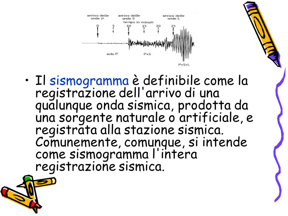 Il sismogramma è definibile come la registrazione dell arrivo di una qualunque onda sismica, prodotta da una sorgente naturale o artificiale, e registrata alla stazione sismica.