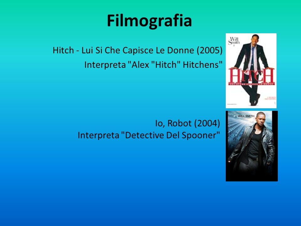 Filmografia Hitch - Lui Si Che Capisce Le Donne (2005) Interpreta Alex Hitch Hitchens Io, Robot (2004)