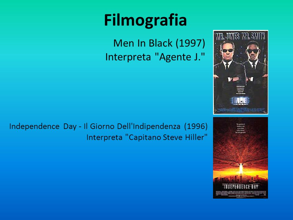Filmografia Men In Black (1997) Interpreta Agente J.