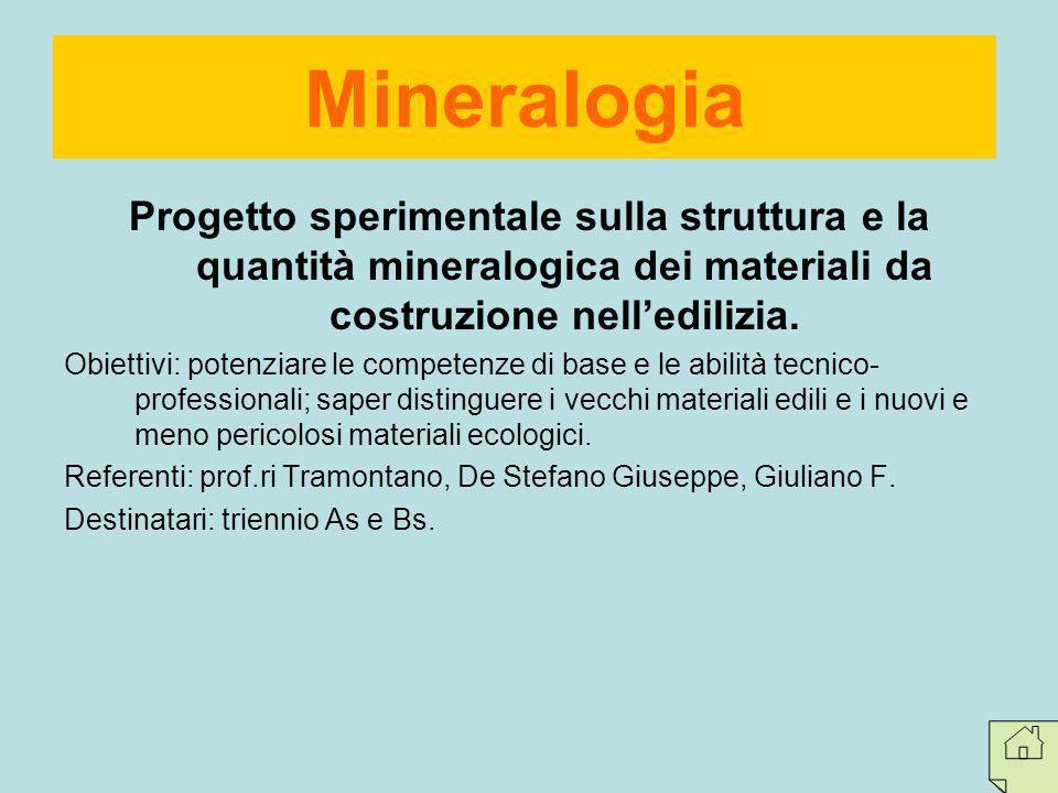 Mineralogia Progetto sperimentale sulla struttura e la quantità mineralogica dei materiali da costruzione nell'edilizia.