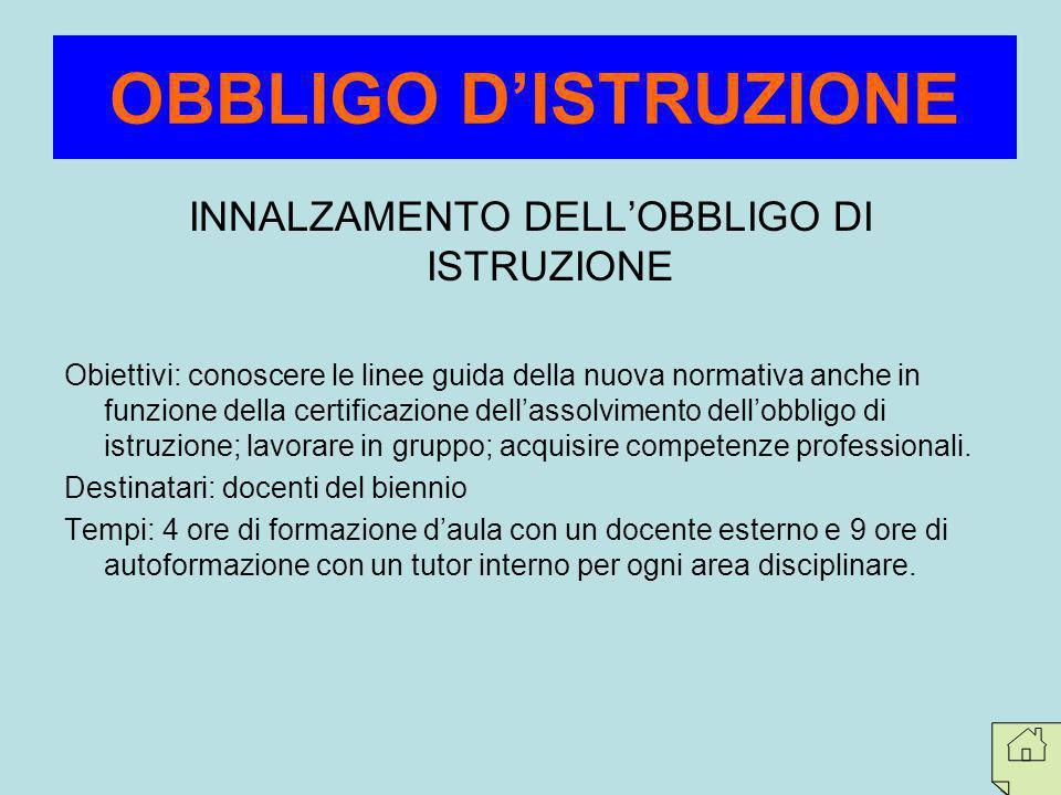 INNALZAMENTO DELL'OBBLIGO DI ISTRUZIONE