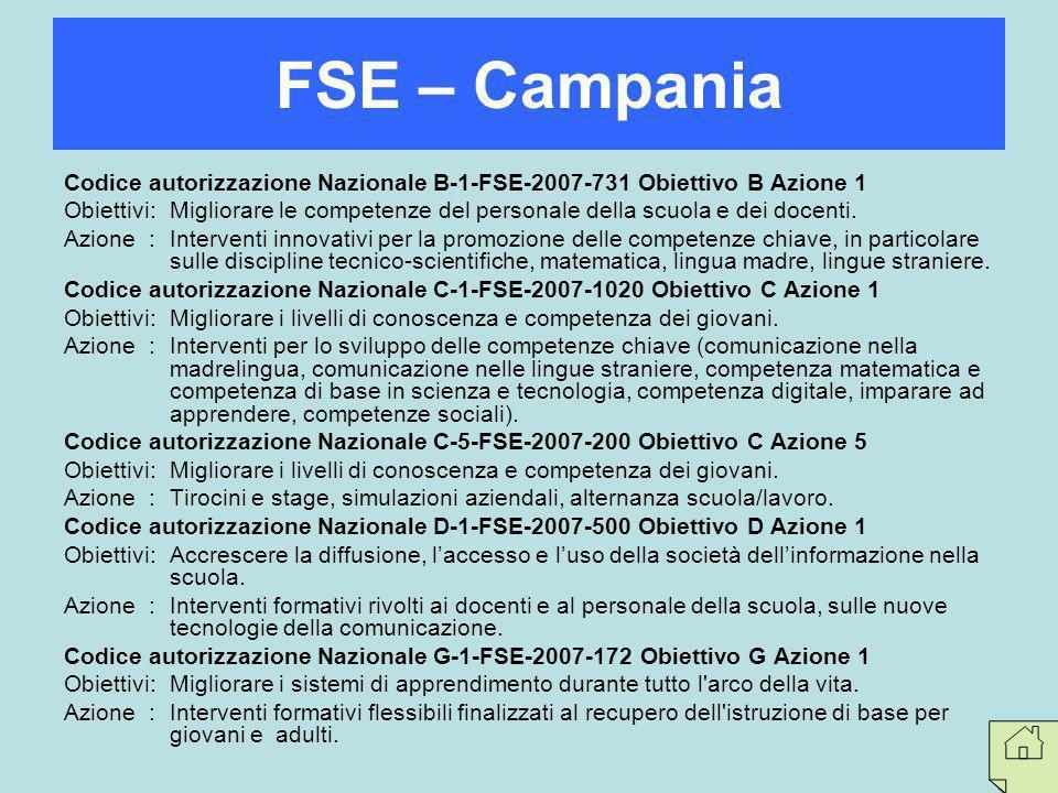 FSE – Campania Codice autorizzazione Nazionale B-1-FSE-2007-731 Obiettivo B Azione 1.