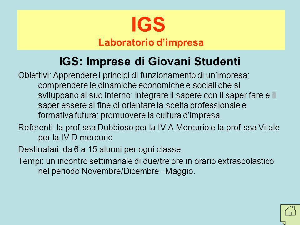 Laboratorio d'impresa IGS: Imprese di Giovani Studenti