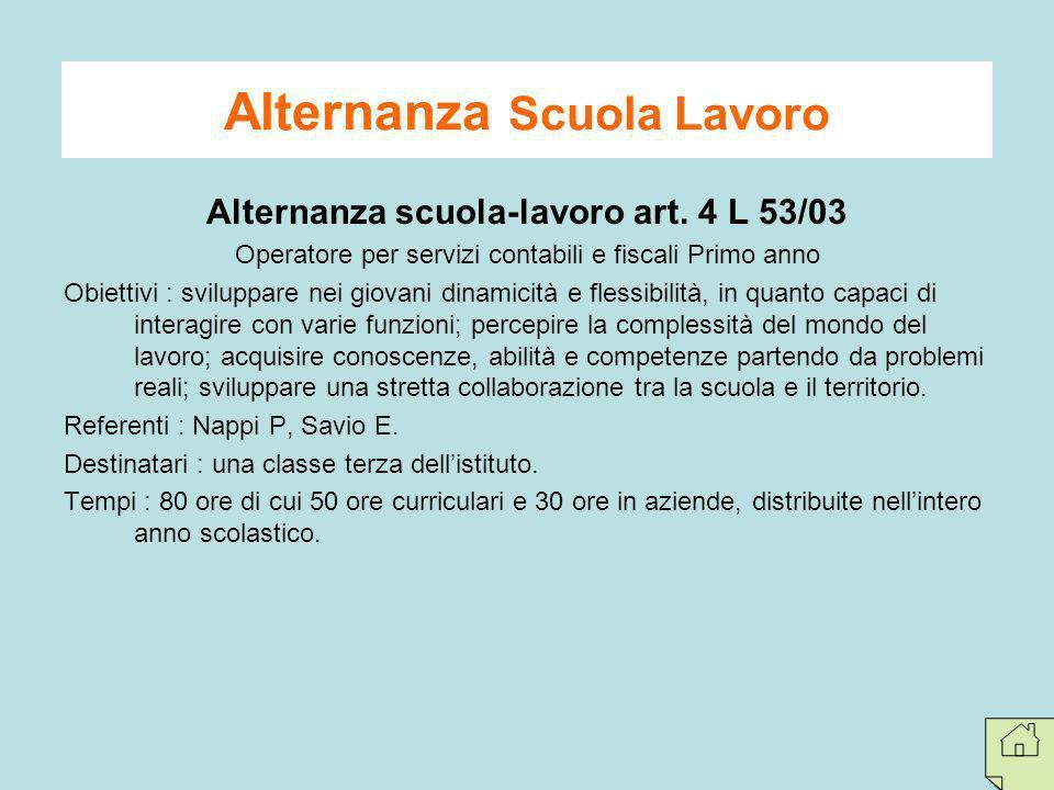 Alternanza Scuola Lavoro Alternanza scuola-lavoro art. 4 L 53/03