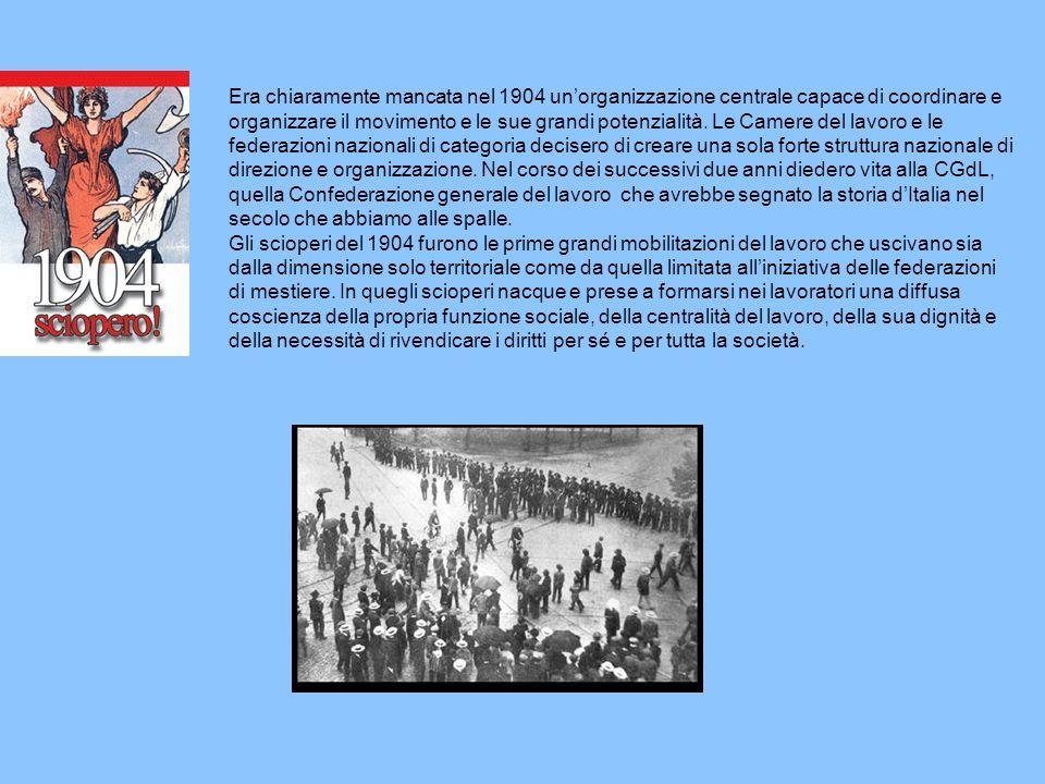 Era chiaramente mancata nel 1904 un'organizzazione centrale capace di coordinare e organizzare il movimento e le sue grandi potenzialità.