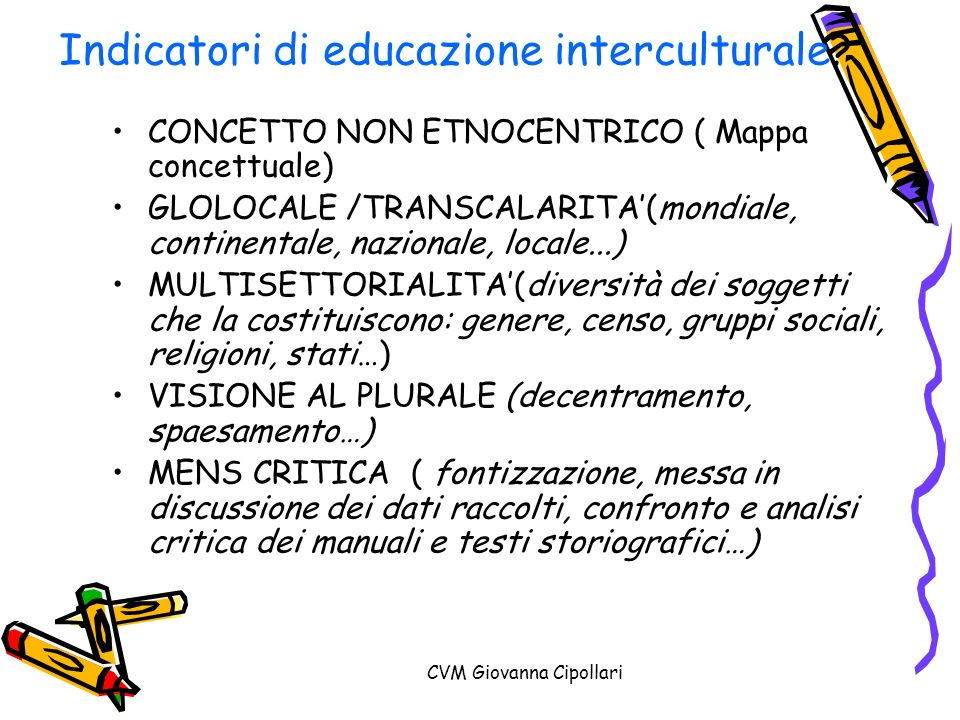 Indicatori di educazione interculturale