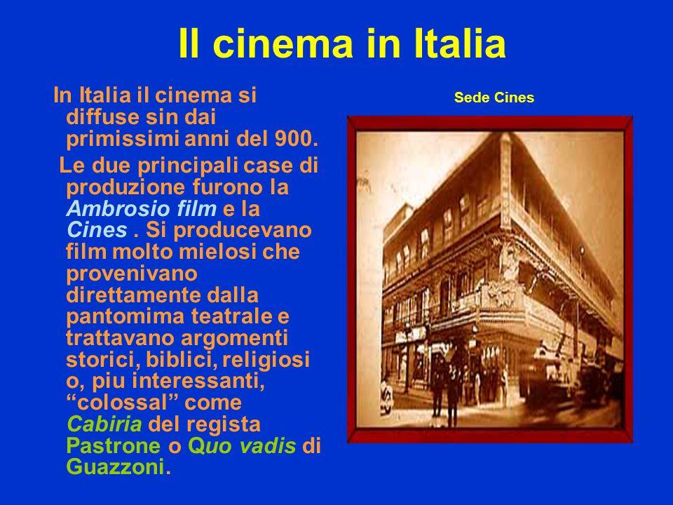 Il cinema in Italia In Italia il cinema si diffuse sin dai primissimi anni del 900.