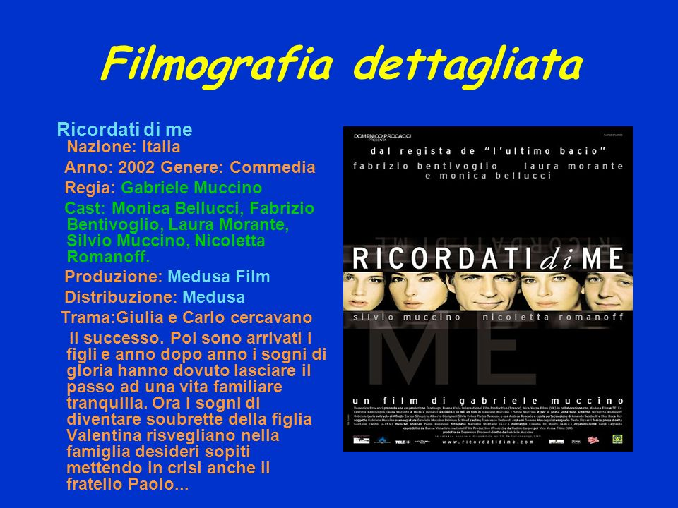 Filmografia dettagliata