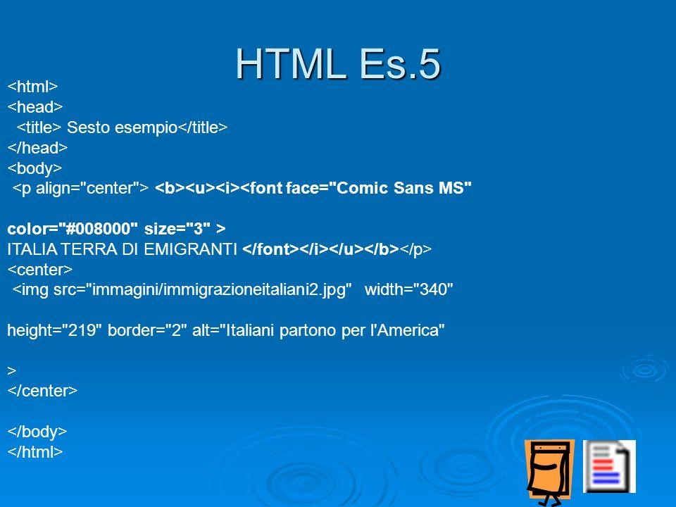 HTML Es.5 <html> <head>