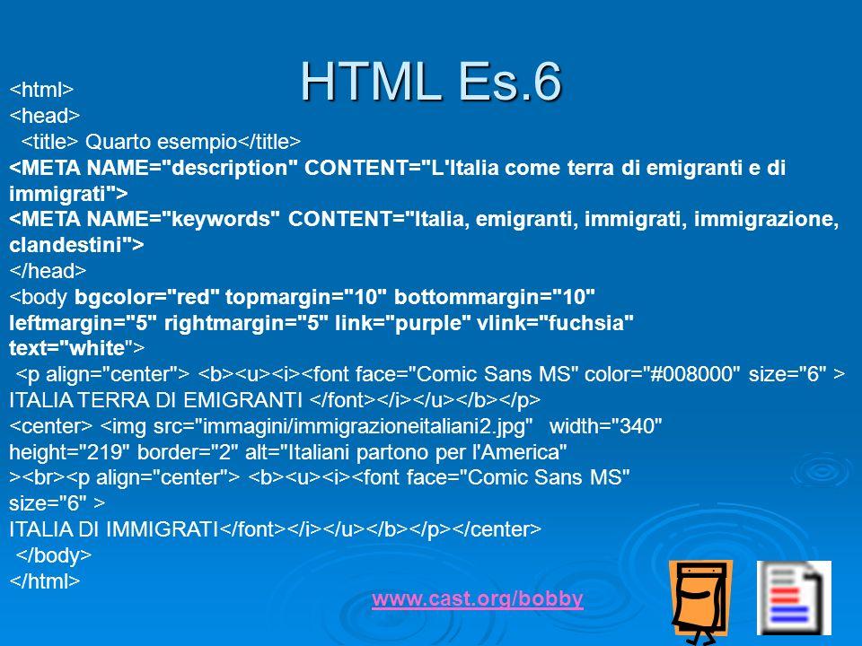 HTML Es.6 <html> <head>