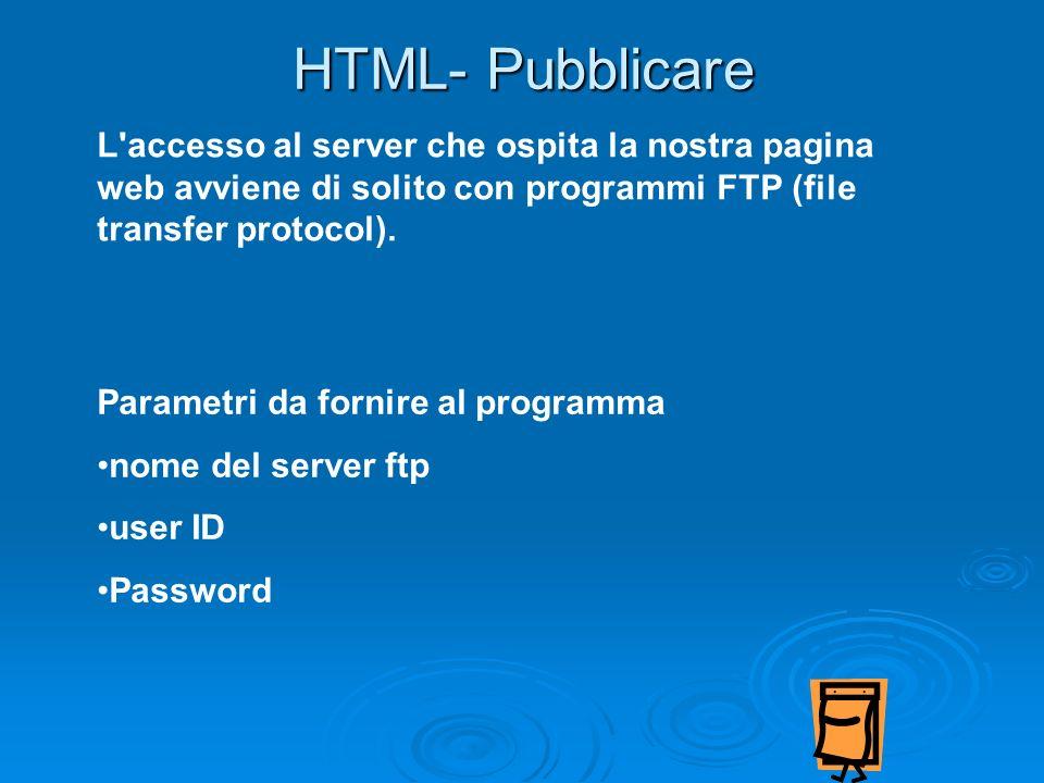 HTML- Pubblicare L accesso al server che ospita la nostra pagina web avviene di solito con programmi FTP (file transfer protocol).