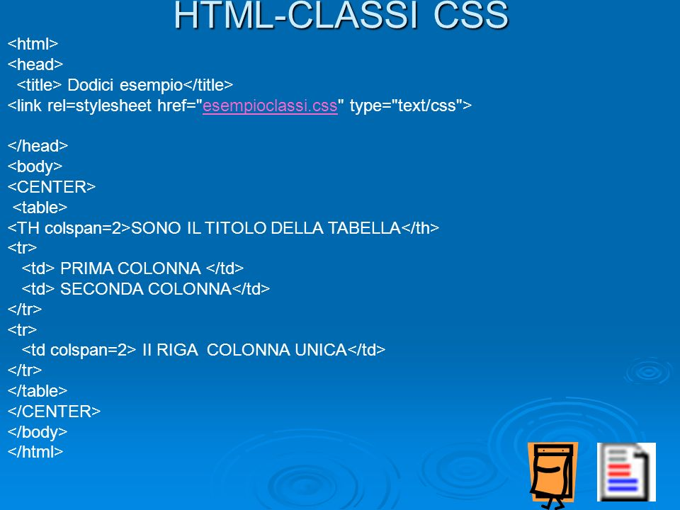 HTML-CLASSI CSS <html> <head>