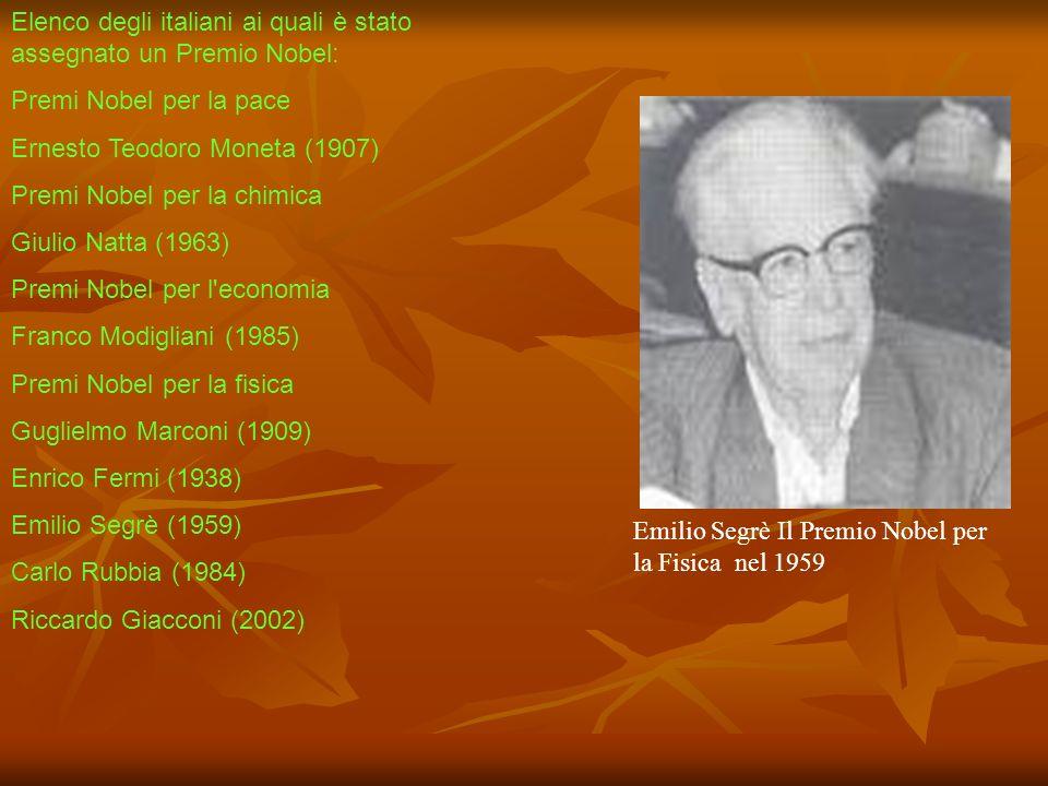 Elenco degli italiani ai quali è stato assegnato un Premio Nobel: