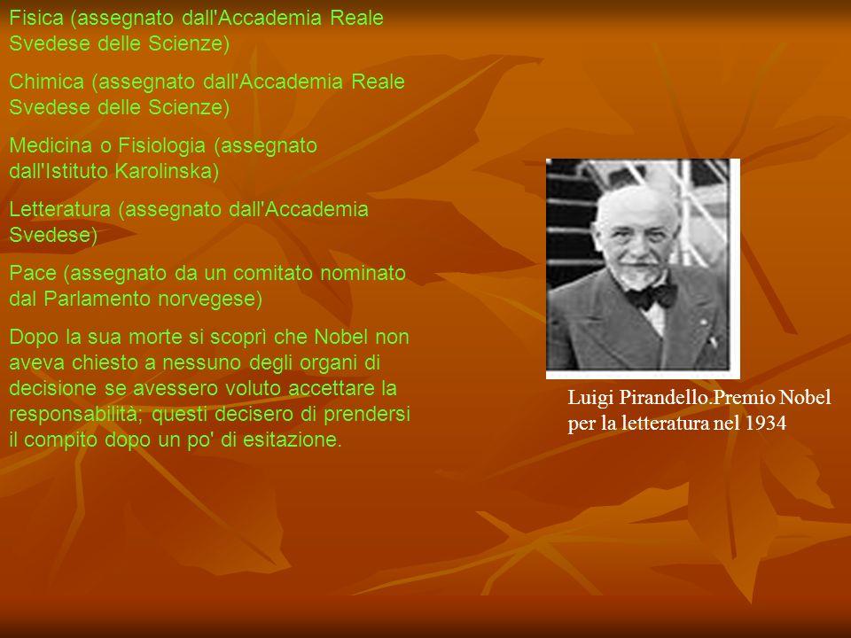 Fisica (assegnato dall Accademia Reale Svedese delle Scienze)