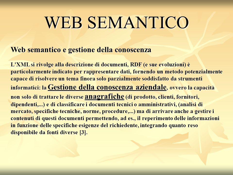 WEB SEMANTICO Web semantico e gestione della conoscenza
