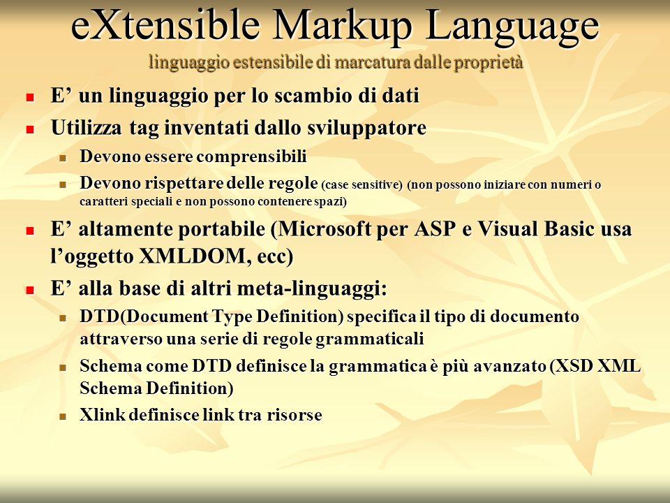 eXtensible Markup Language linguaggio estensibile di marcatura dalle proprietà
