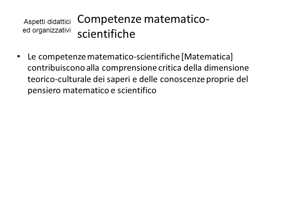 Competenze matematico-scientifiche