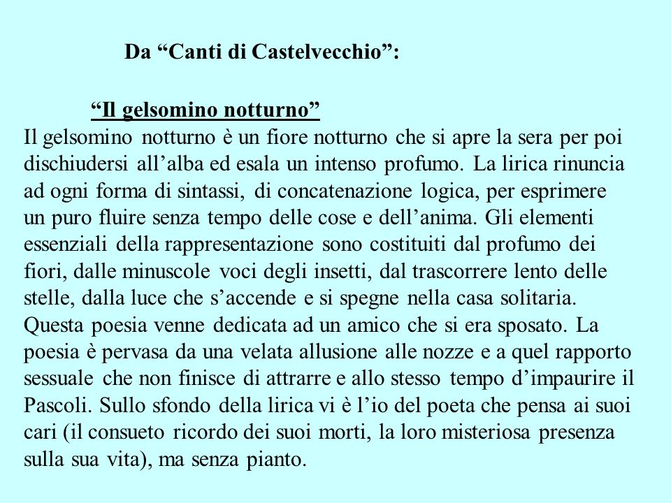 Da Canti di Castelvecchio :