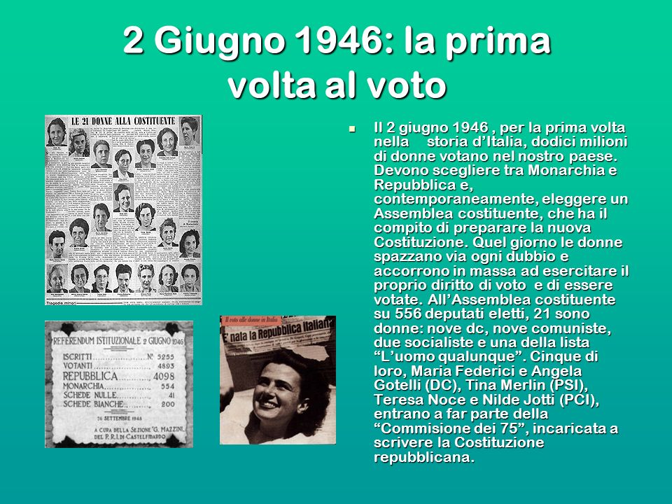 2 Giugno 1946: la prima volta al voto