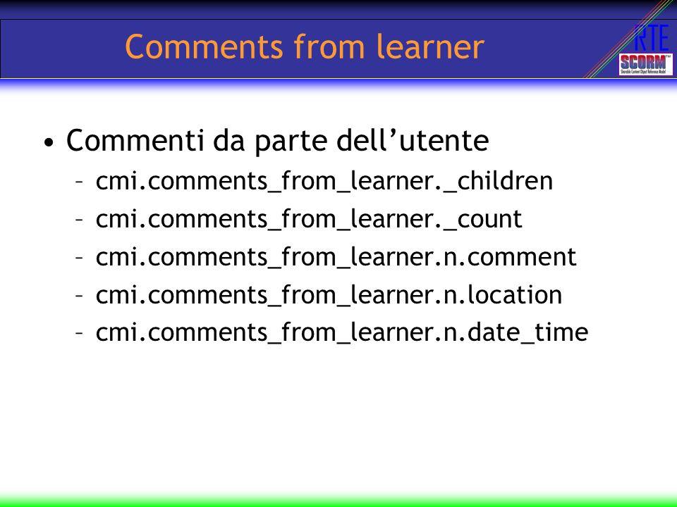Comments from learner Commenti da parte dell'utente