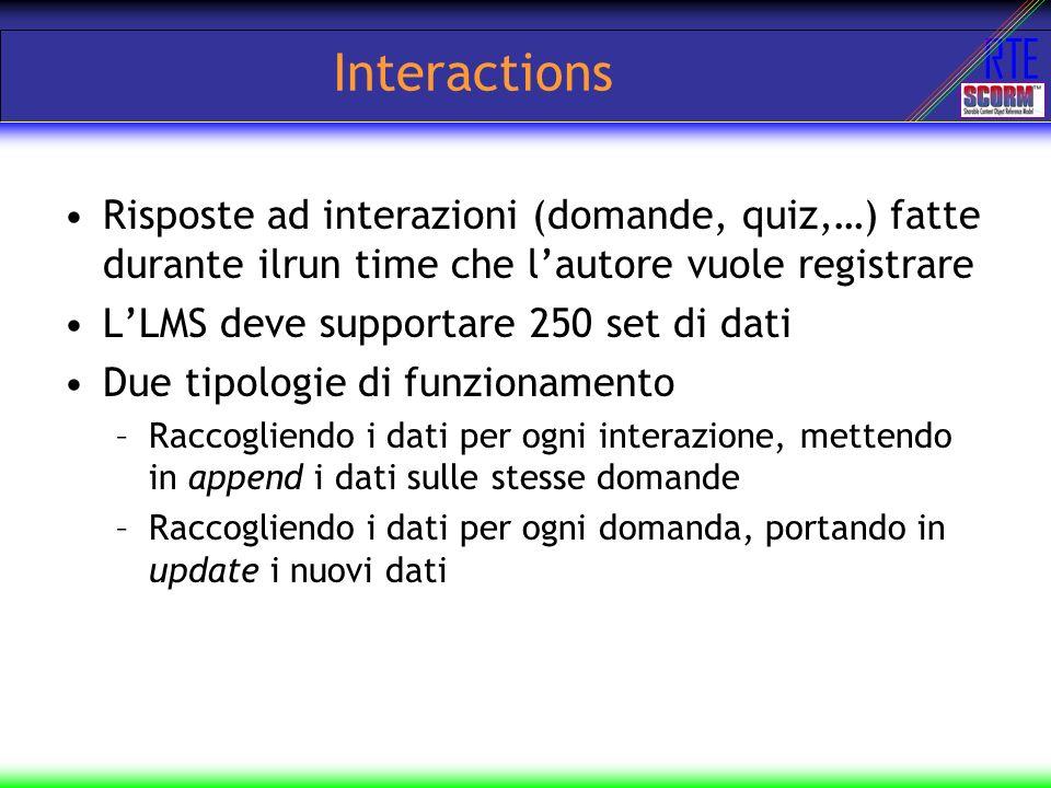 Interactions Risposte ad interazioni (domande, quiz,…) fatte durante ilrun time che l'autore vuole registrare.