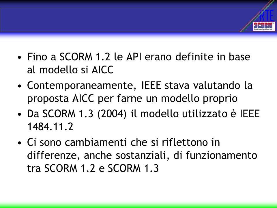 Fino a SCORM 1.2 le API erano definite in base al modello si AICC