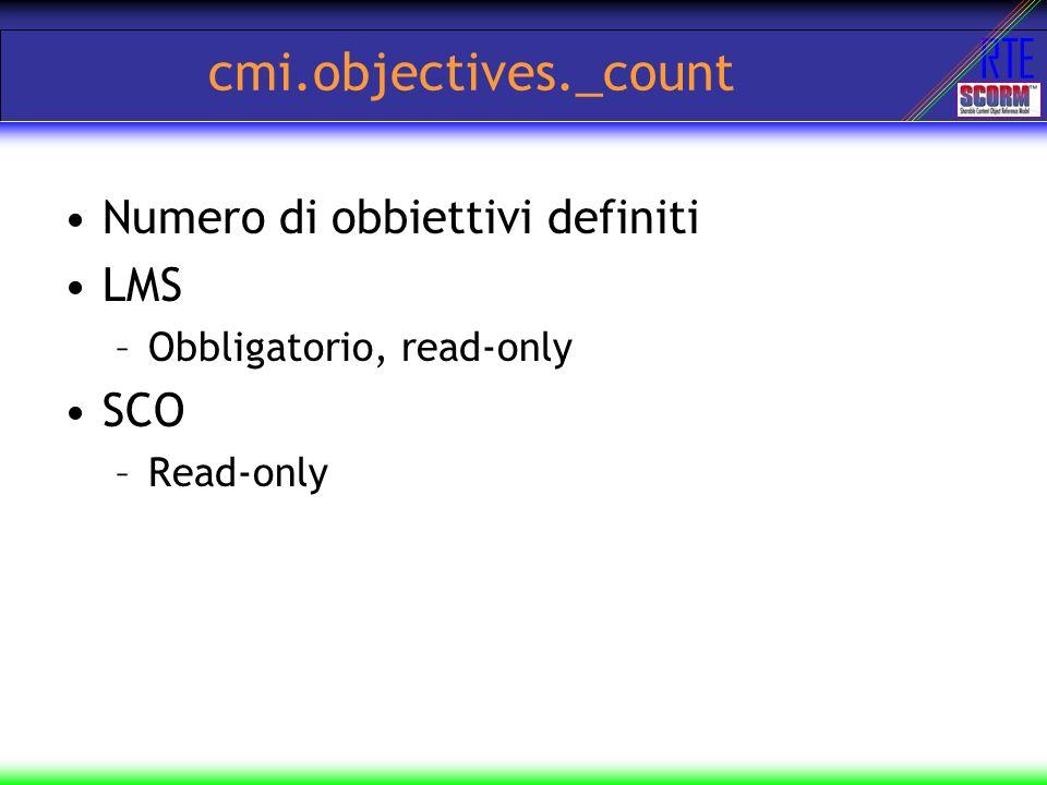cmi.objectives._count Numero di obbiettivi definiti LMS SCO