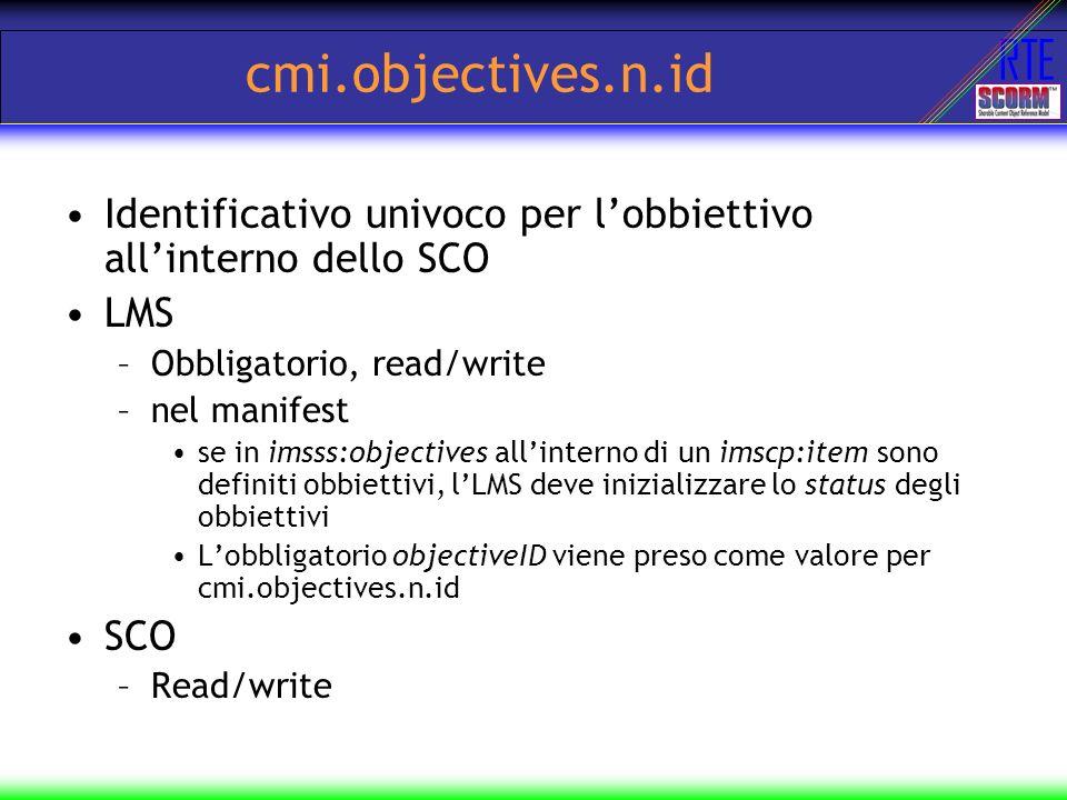 cmi.objectives.n.id Identificativo univoco per l'obbiettivo all'interno dello SCO. LMS. Obbligatorio, read/write.