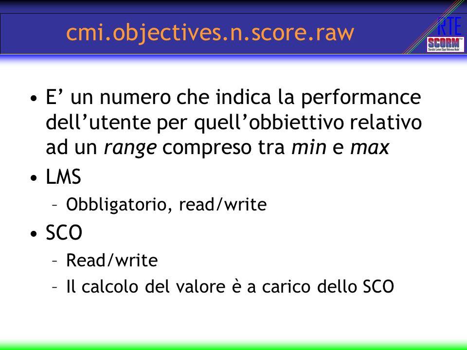 cmi.objectives.n.score.raw E' un numero che indica la performance dell'utente per quell'obbiettivo relativo ad un range compreso tra min e max.