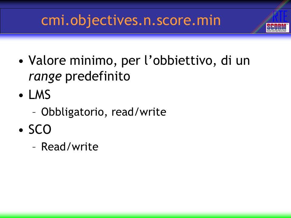 cmi.objectives.n.score.min Valore minimo, per l'obbiettivo, di un range predefinito. LMS. Obbligatorio, read/write.