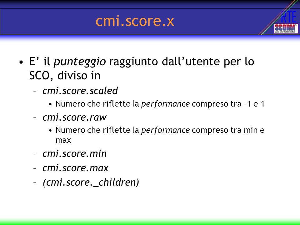 cmi.score.x E' il punteggio raggiunto dall'utente per lo SCO, diviso in. cmi.score.scaled. Numero che riflette la performance compreso tra -1 e 1.