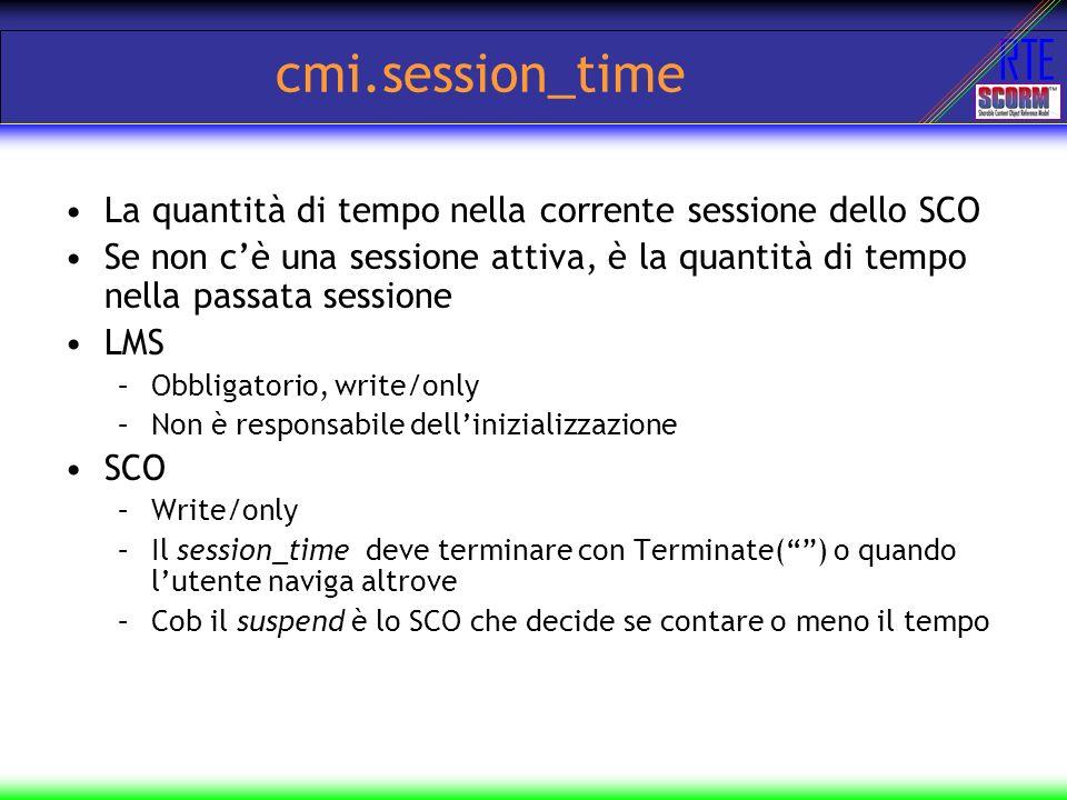 cmi.session_time La quantità di tempo nella corrente sessione dello SCO.