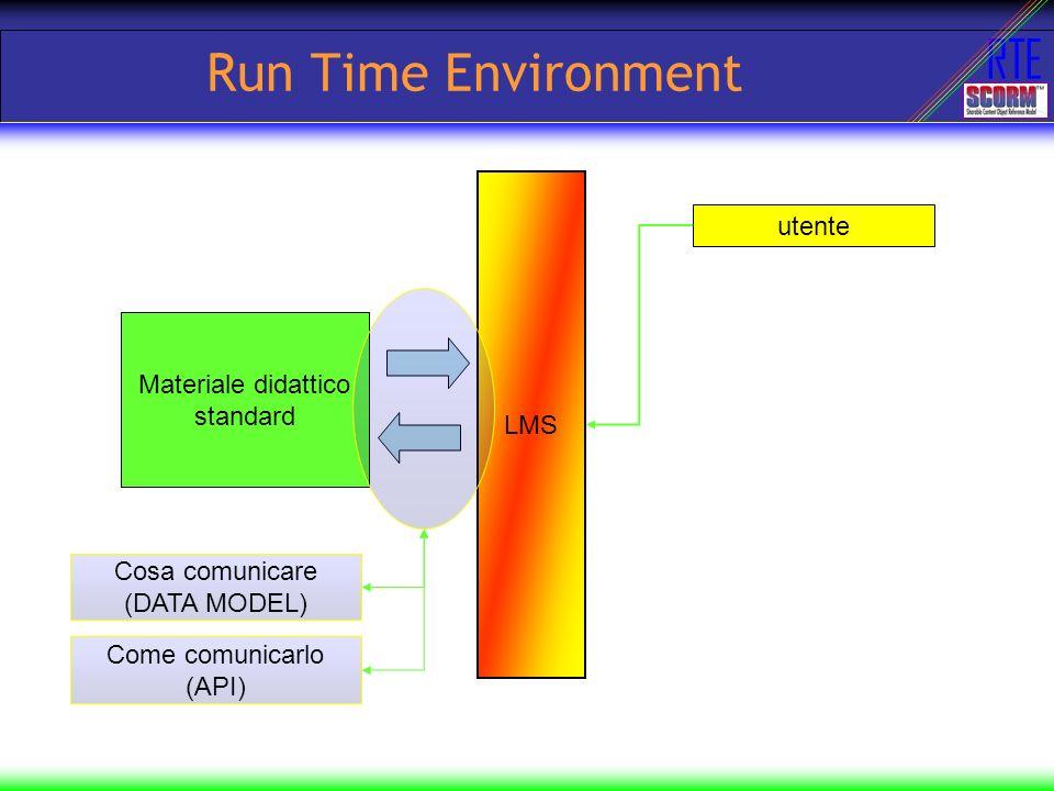 Run Time Environment utente LMS Materiale didattico standard