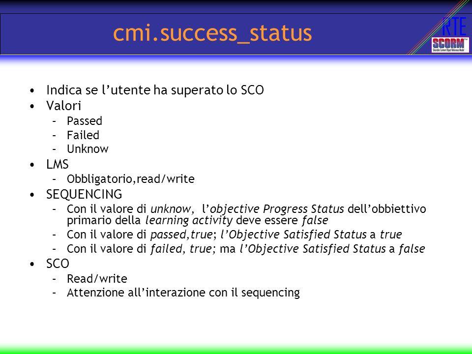 cmi.success_status Indica se l'utente ha superato lo SCO Valori LMS
