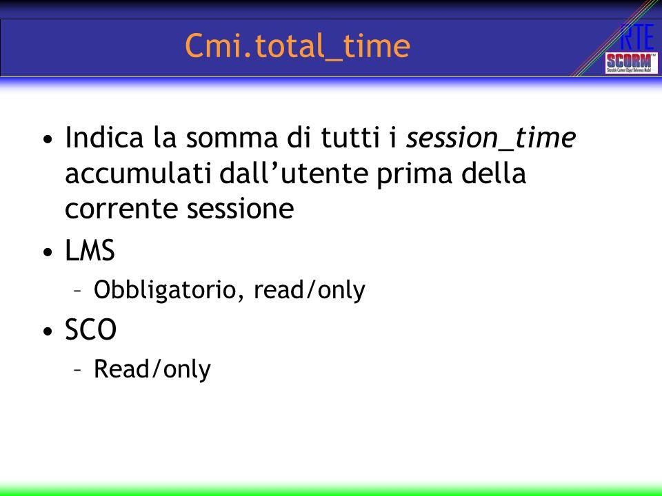Cmi.total_time Indica la somma di tutti i session_time accumulati dall'utente prima della corrente sessione.