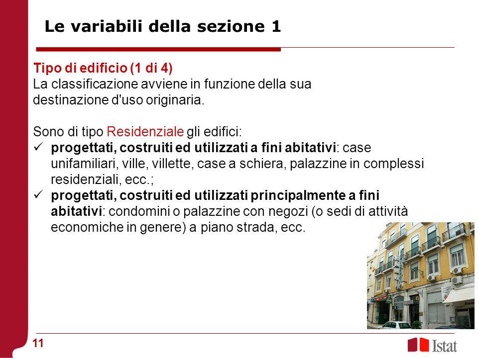 Le variabili della sezione 1