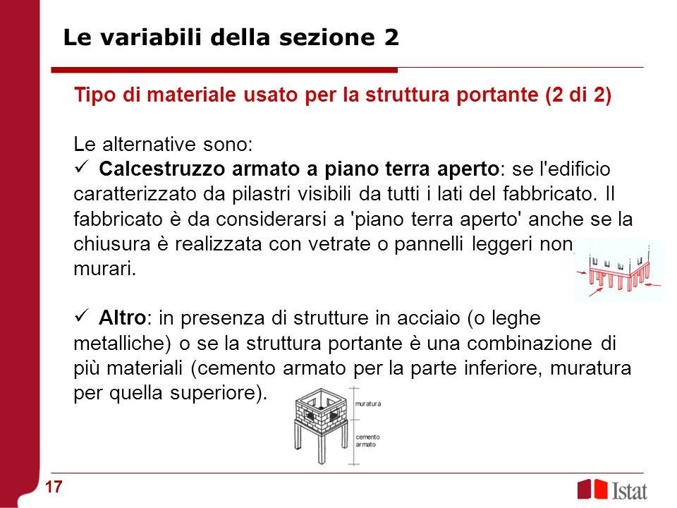 Le variabili della sezione 2