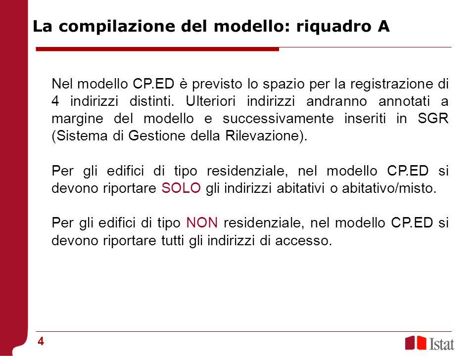 La compilazione del modello: riquadro A
