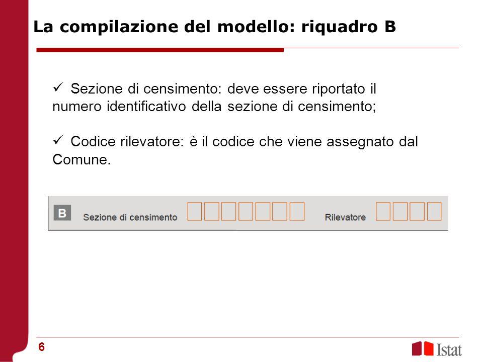La compilazione del modello: riquadro B