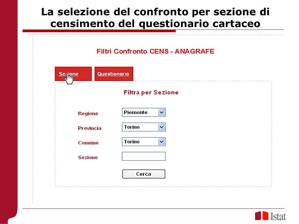 La selezione del confronto per sezione di censimento del questionario cartaceo