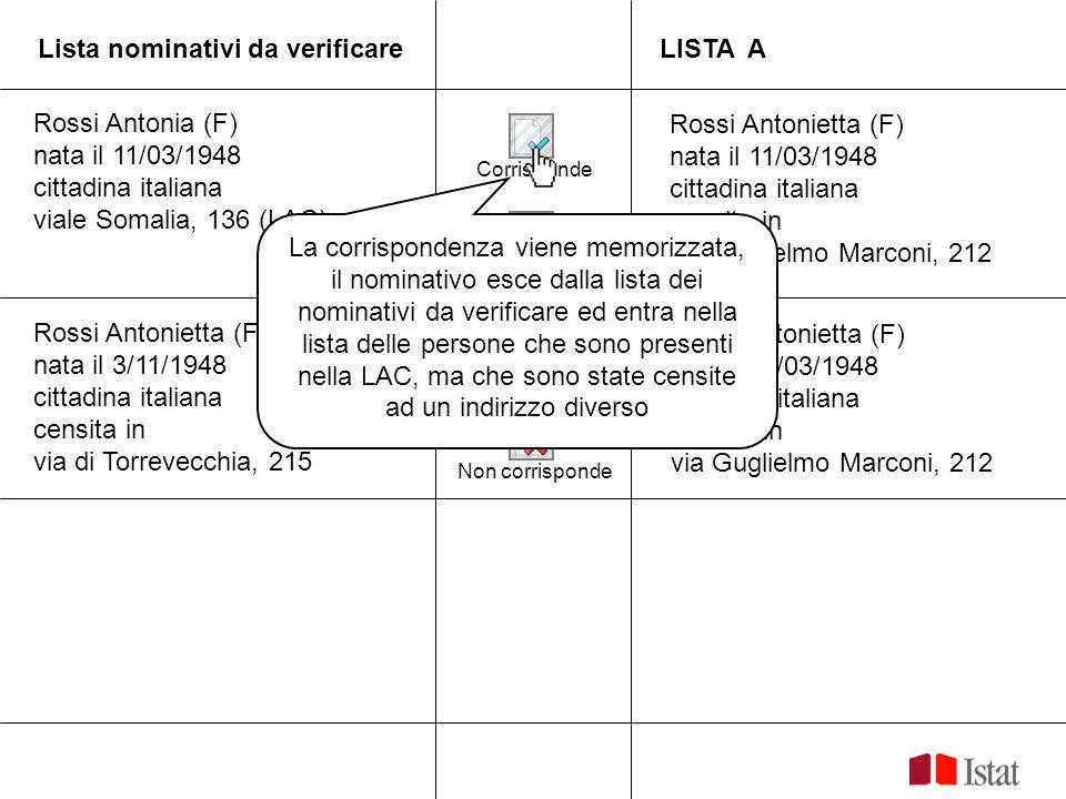 Lista nominativi da verificare LISTA A